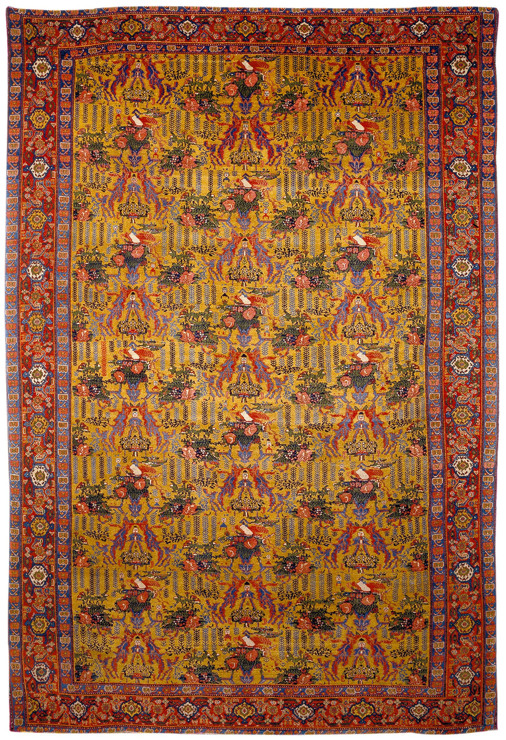antique Senneh rug la datina